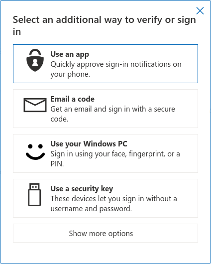 A list of authentication choices MS allows when signing in with Chrome; U2F is present