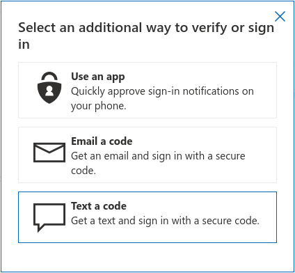 A list of authentication choices MS allows when signing in with Firefox; U2F is absent