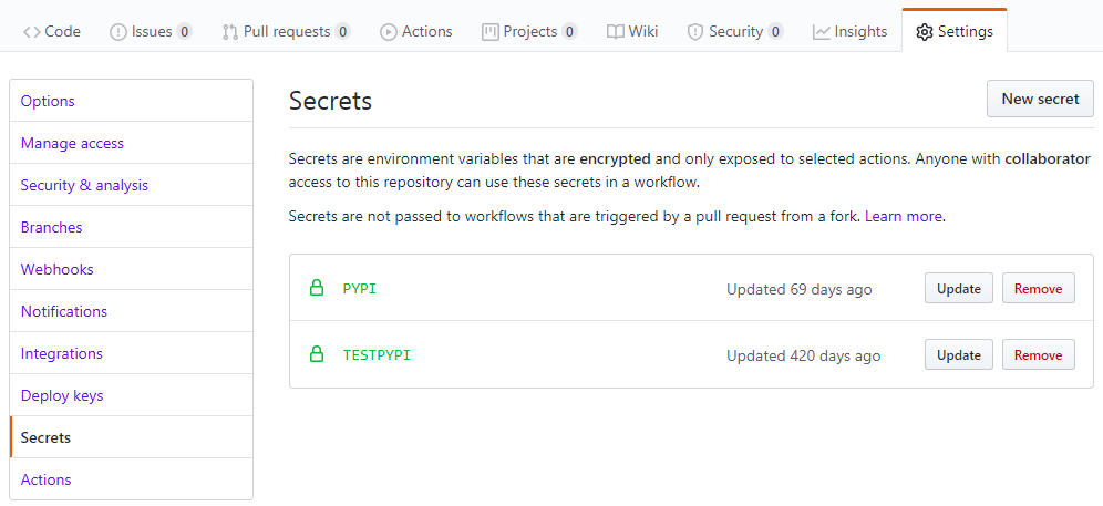Screenshot of API tokens in the secrets section of their corresponding repo.